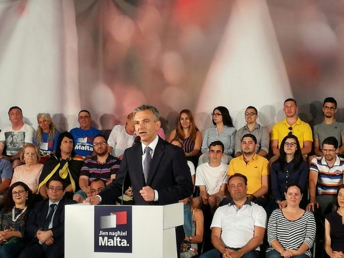 Simon Busuttil addresses a political activity in Gzira