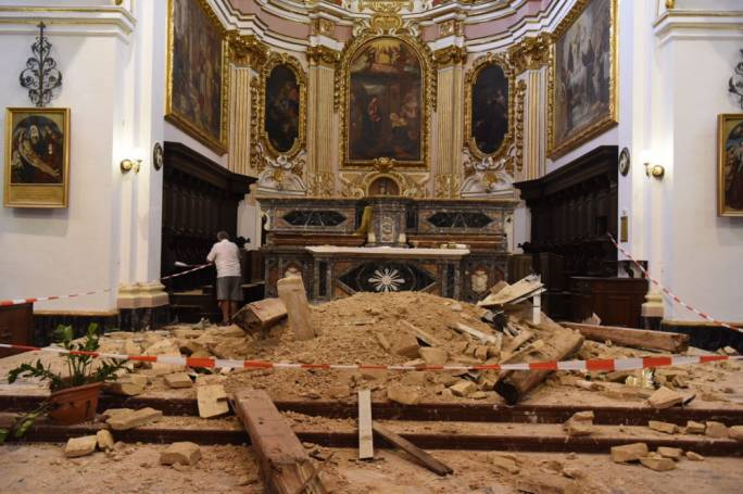 Luckily, no one was inside the church when the ceiling collapsed. (Photo: James Bianchi/Mediatoday)