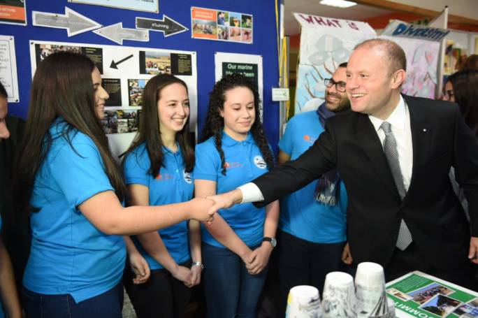 Prime minister Joseph Muscat meeting students this morning (Photo: James Bianchi/MediaToday)