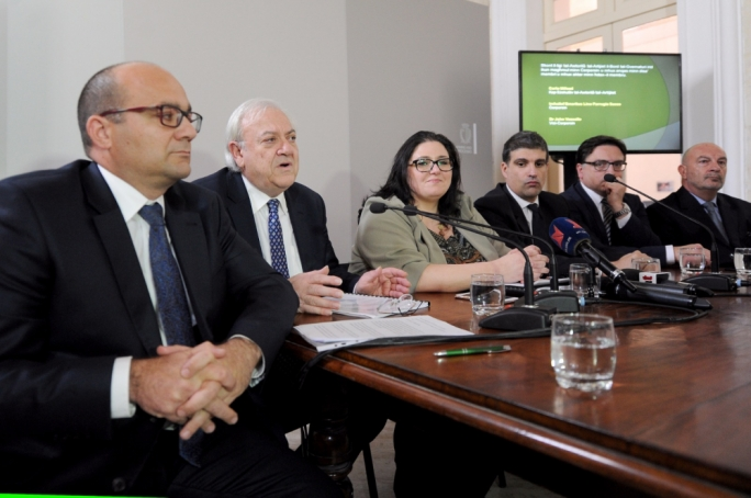 Carlo Mifsud and Lino Farrugia Sacco (first two from left) are the CEO and chairperson of the new Lands Authority. Photo: James Bianchi