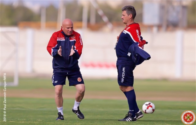 Malta coach Ray Farrugia (left) and his assistant Branko Nisevic. Photo: Paul Zammit Cutajar / MFA