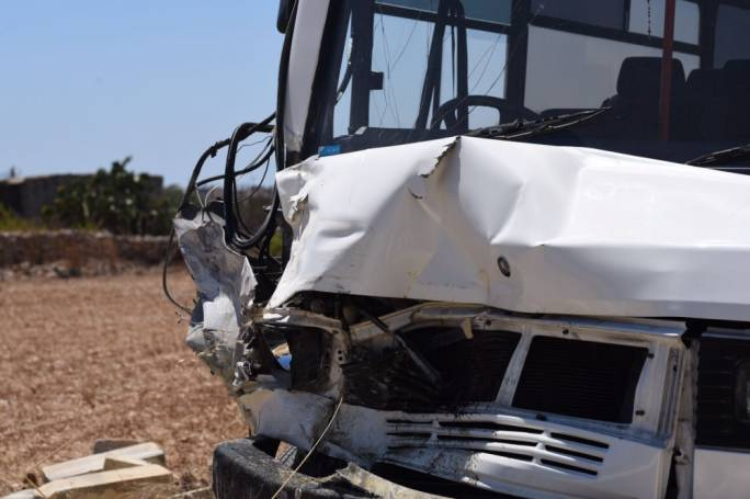 The elderly passengers were riding in the minibus when the driver lost control