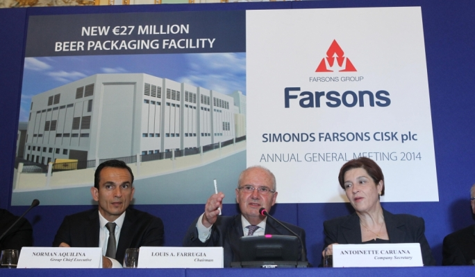 From left - Group CEO Norman Aquilina, Farsons chairman Louis Farrugia, and company secretary Antoinette Caruana
