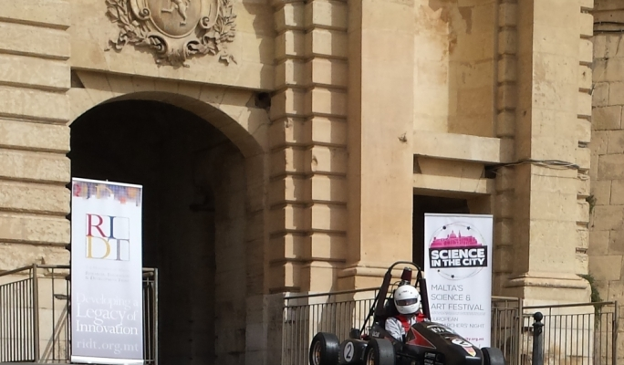 UoM Racing Formula style car being driven by Luke Cini at Victoria Gate, Valletta