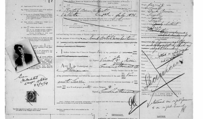 Maltese passport dating 1920 with a vivid tattoo description. (Courtesy National Archives of Malta)