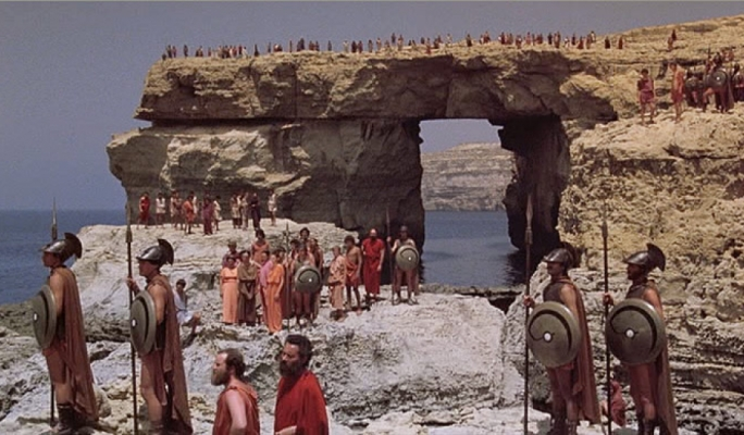 The picturesque Azure Window in 1981 during the filming of Clash of the Titans