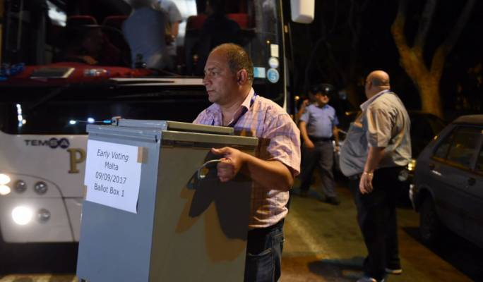 The final ballot boxes arrived in Floriana at 10.25pm