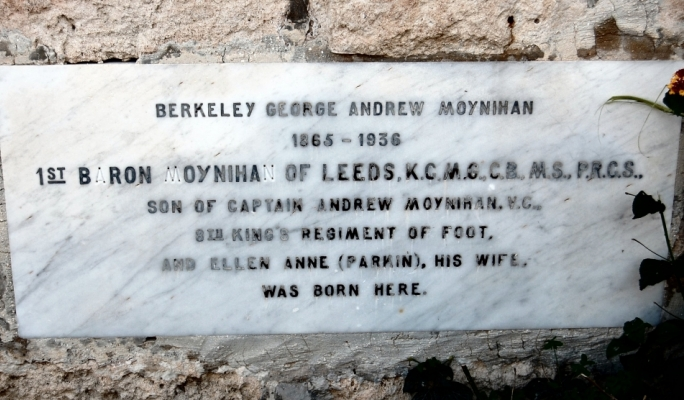 Plaque commemorating Lord Berkeley Moynihan who was born in the house (top) named after him.