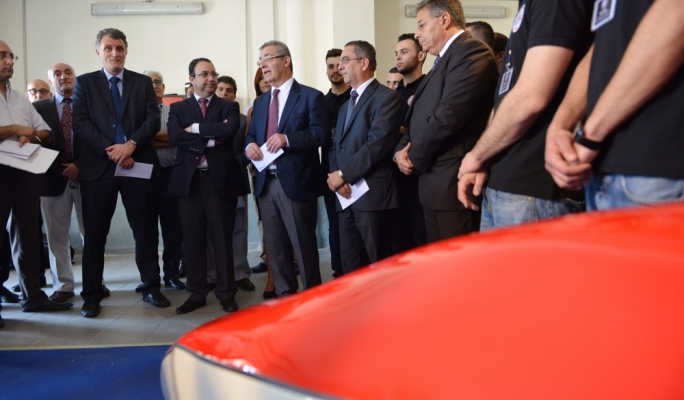 Education and Transport Ministers Evarist Bartolo and Joe Mizzi respectively at the launch of the racing car • Photo by Raqy Attard
