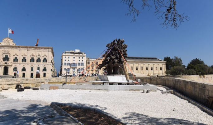 The monument, erected off Castille Square, will be inaugurated on 12 May (Photo: James Bianchi/MediaToday)