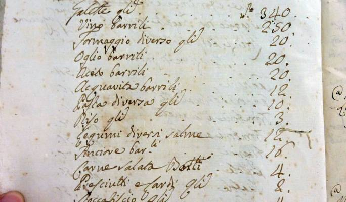 A list of food stuff from Maltese Corsair in 1788