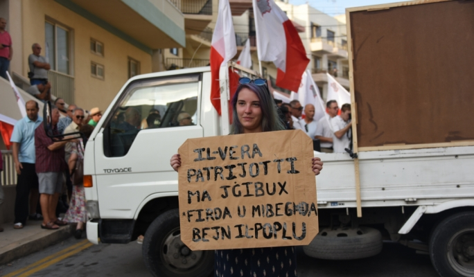 Activist Erica Schembri insisted that true patriots do not incite hatred • All photos by Ivan M. Consiglio