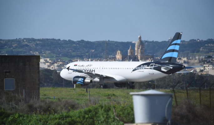 The hijackers landed the aeroplane in Malta with around 118 passengers on board. Photo: James Bianchi