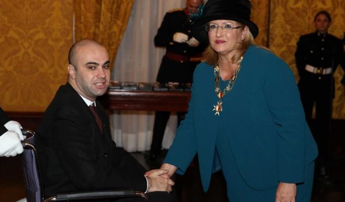 ALS Malta founder Bjorn Formosa and President Marie Louise Coleiro Preca.