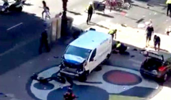 Still image extracted from CCTV footage of the van attack in Barcelona