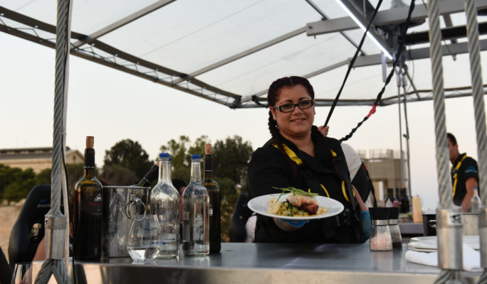 Dinner is served at 40 metres (Photo: Chris Mangion)