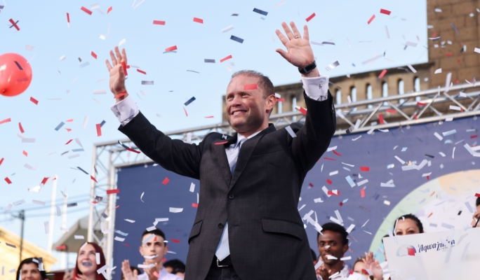 Prime Minister and Labour leader Joseph Muscat addressing mass meeting (Photo: James Bianchi/MediaToday)