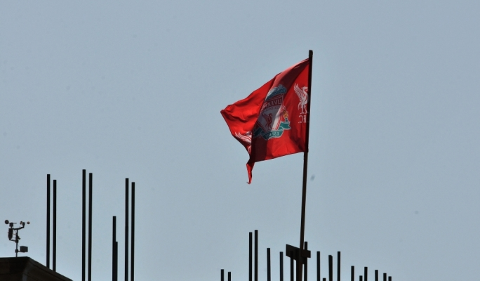 A Liverpool flag rises up above Brad and Angelina's 'new home' (Photo: Chris Mangion)
