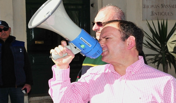 PN local councillor and Radio 101 presenter David Thake led the chants as thousands of protestors made their way through Valletta • All photos: Ivan Consiglio
