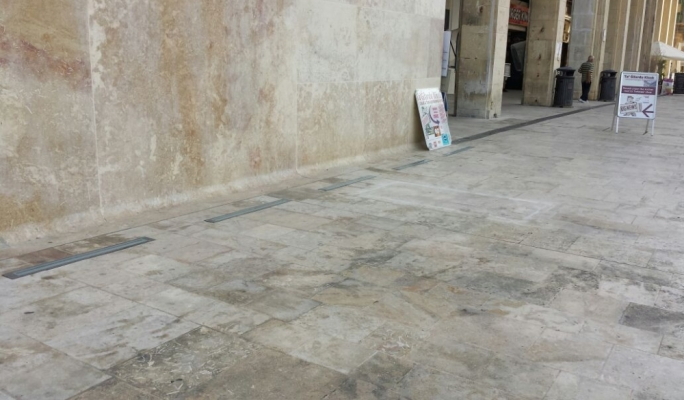 The sculpture and its pedestal were removed from their position at the entrance to Valletta