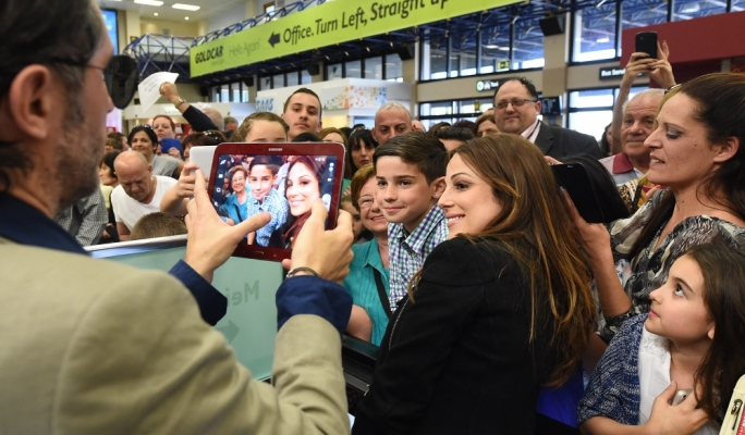Malta's singer at the Eurovision Song Contest Ira Losco was given a warm welcome by fans at the Malta International Airport • Photos: Ray Attard