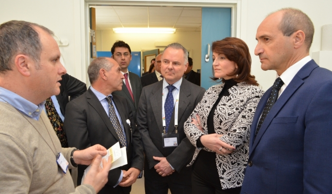 Parliamentary secretary Chris Fearne and Mairgold Foundation chairperson Michelle Muscat being showed around labs at Mater Dei Hospital