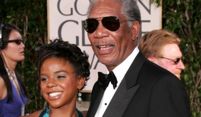 Edena Hines with her grandfather, actor Morgan Freeman at the 2005 Golden Globe awards