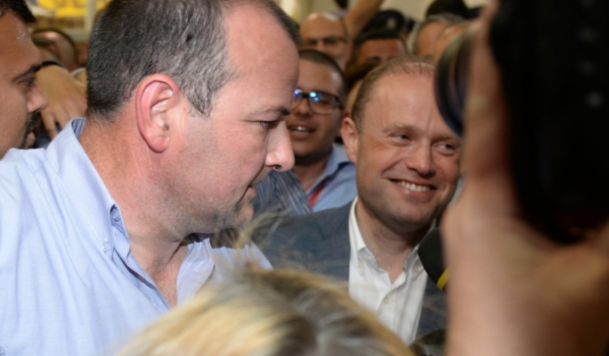 Prime Minister Joseph Muscat during a brief visit at the counting hall complex in Naxxar (Photo: Chris Mangion/MediaToday)