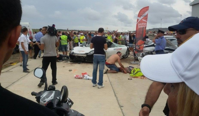 The scene of the incident after a supercar crashed into a crow of onlookers • Photo by MaltaToday reader Claire Caruana