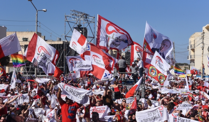 The Mqabba bypass transformed into a sea of flags