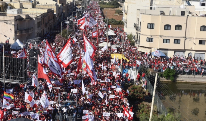 Thousands of Labour supporters gather in Mqabba for mass meeting on Day 21 of the electoral campaign (Photo: Chris Mangion/MediaToday)