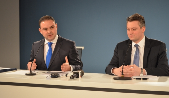 Justice Minister Owen Bonnici and Energy Minister Konrad Mizzi addressing a joint press conference at Labour's headquarters
