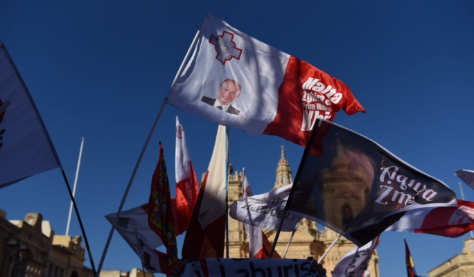 Flags fly high at the Xaghra square (Photo: James Bianchi/MediaToday)