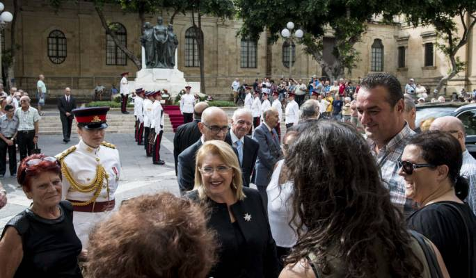 President Marie Louise Coleiro Preca at this morning's wreath laying ceremony