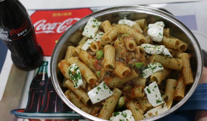 Gourmet Today - Rigatoni with artichoke hearts and gbejniet