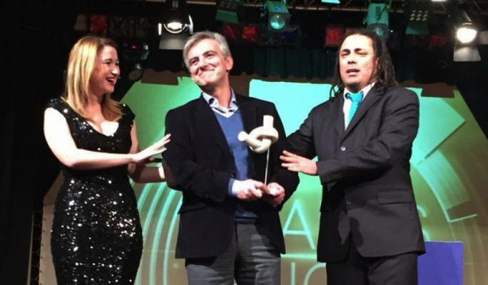 Jo Caruana and Steve Hili present Opposition leader Simon Busuttil with an award during one of their sketches