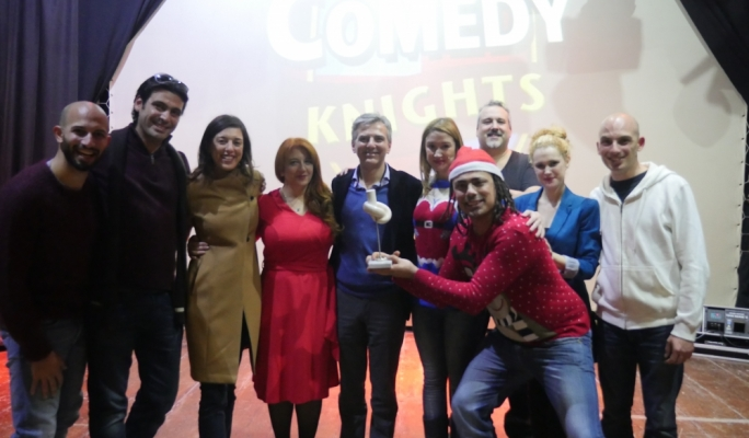 Opposition leader Simon Busuttil joined the Comedy Knights backstage