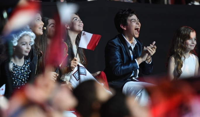 Winner of the Junior Eurovision Song Contest: Italy's Vincenzo Cantiello (centre). Also pictured is Malta's Federica Falzon (left). Photo by Ray Attard