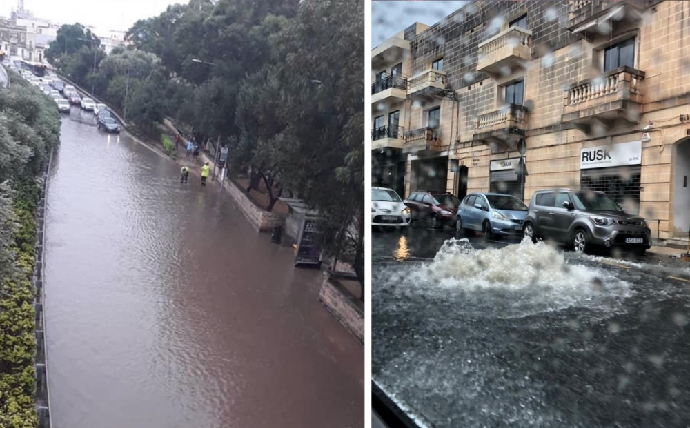 Rain turns Malta's roads into rivers