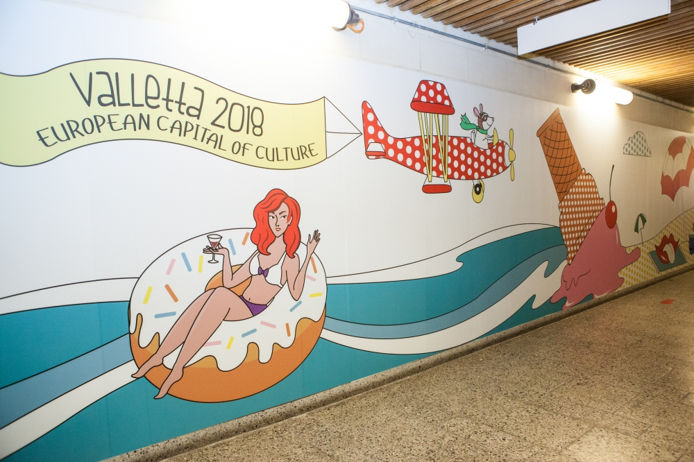 Cruise port embarkation tunnel is a festival of art