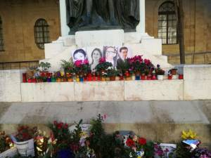 Mintoff, Karin and Raymond photos appear on Valletta shrine for Daphne Caruana Galizia