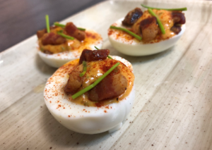 Deviled eggs with crispy pancetta and homemade mayo