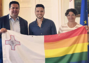 Equality Minister's photo with Malta flag showing gay pride colours raises ire
