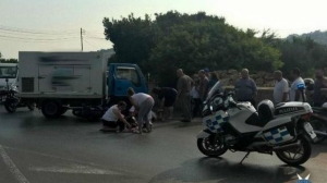 Motorbike passenger hospitalised after San Gwann slip