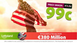 Massive price smash on Thursday's €380,000,000 US Powerball draw