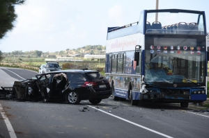 Car and double decker collide in Xemxija, three people hospitalised