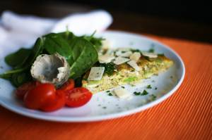 Artichoke and broad bean omelette