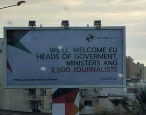 2,500 journalists welcomed... to EU presidency billboard's spelling error