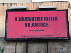 Life imitates art in Malta as three billboards call for justice for Daphne Caruana Galizia