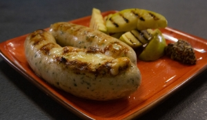 Grilled boudin blanc sausages with chicken
